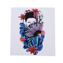 Half Fan Beauty Waterproof Tattoo Sticker Chinese Style Sweat Personality Noble And Popular Flower Arm Tattoo Tattoo Sticker chic various butterflies and flower pattern waterproof tattoo sticker for women