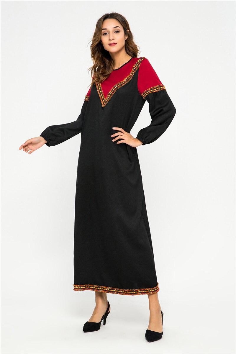 Muslim Middle East Turkey Abaya Robe Spring Ramada Splice Pocket Dress Women Long Sleeve Islamic Moroccan Loose Prayer Clothing