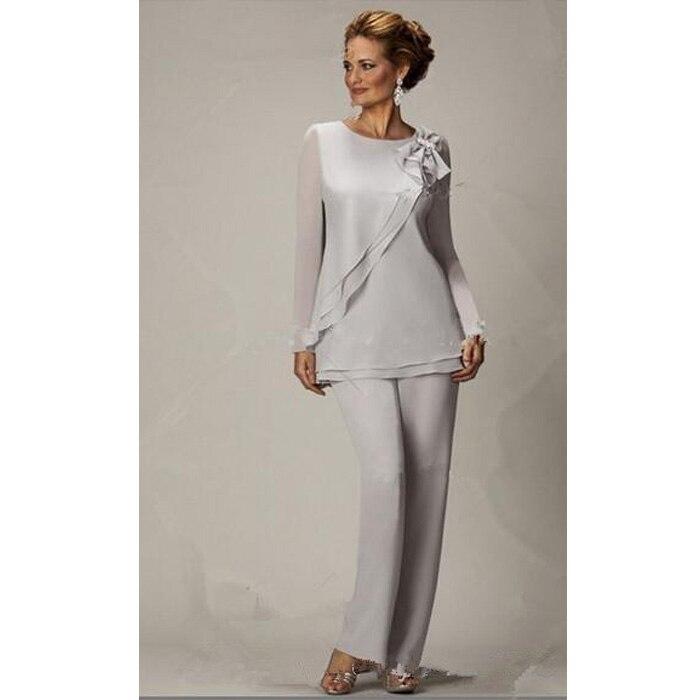 2015 Nuova Madre Della Sposa Pantalone Si Adatta A Due Pezzi Chiffon  Vestito di Pantaloni Per La Cerimonia Nuziale Dei Vestiti Più di Formato  Personalizzato