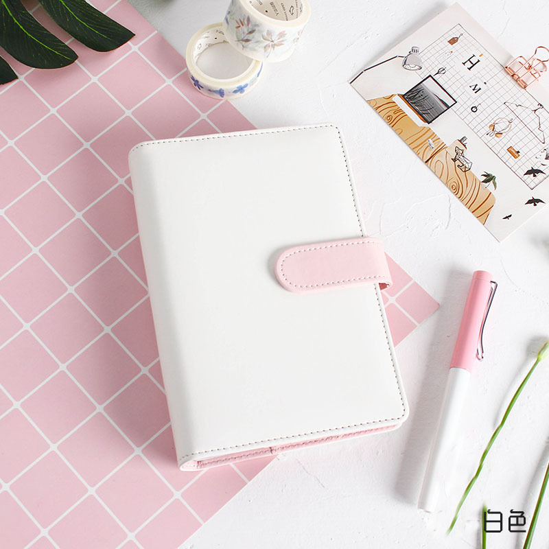 Cute Macaron Loose Leaf Cover Notebook Kawaii Spiral Ring Planner Binder Notebook Journal Candy Color Replacement Leather Cover