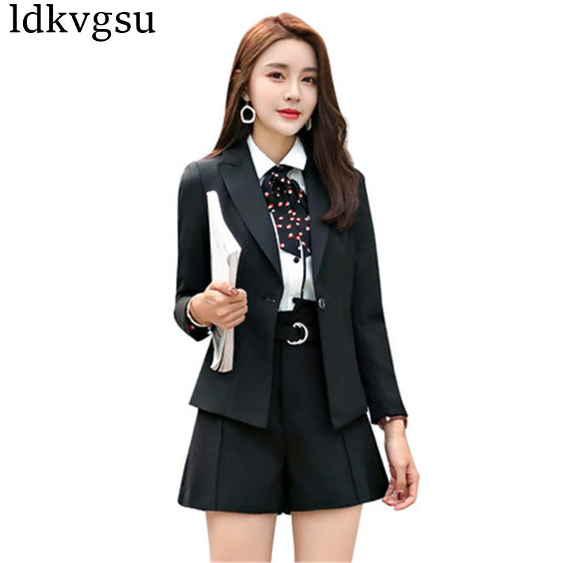 Professional Pant Suit female 2019 new fashion casual short business Suits jackets formal wear overalls Blazers Women Shirt V343 formal wear
