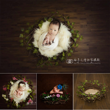 New Studio Baby Photography Props Girl Forest Flower Bird Nest Newborn Photo Props Posing Basket for Photo Shooting Infant Props