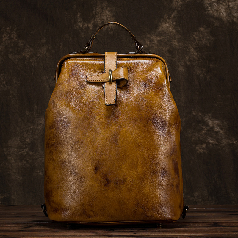 Women Genuine Leather Backpack Brush Color Bag Knapsack Multi Capacity Cowhide Simple Vintage Trends Female Daypack