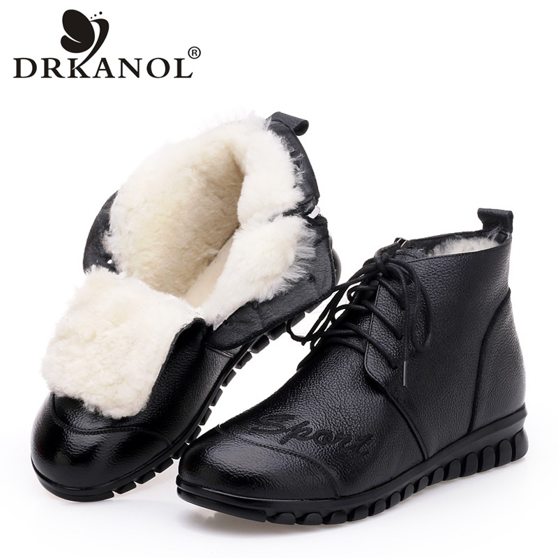 DRKANOL 2019 New Winter Warm Wool Fur Snow Boots Women Shoes Soft Genuine Leather Embroidery Women