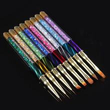 1Pc Gradient UV Gel Nail Brush Multi Size Cat Eye Rhinestone Handle Painting Brush Liner Pen Manicure Nail Art Brush Tools