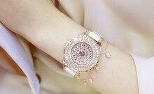 2017 Nuevo de Las Mujeres Vestido Reloj Reloj de Señora de Acero Inoxidable Brillante de Rotación Grande Piedra de Diamante Reloj de pulsera de Señora de Plata Oro Rosa Reloj