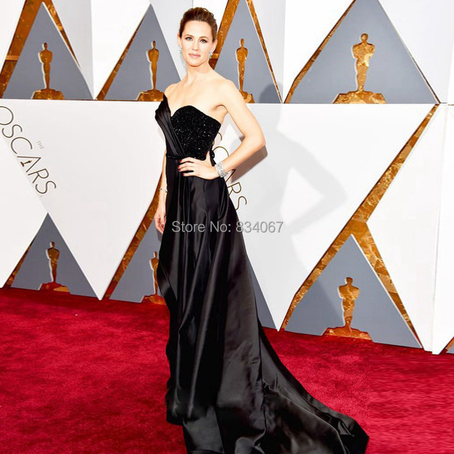 88-й Оскар Дженнифер Гарнер Одно Плечо Знаменитости Платья 2017 Черный line Red Carpet Вечерние Платья для Женщин vestidos