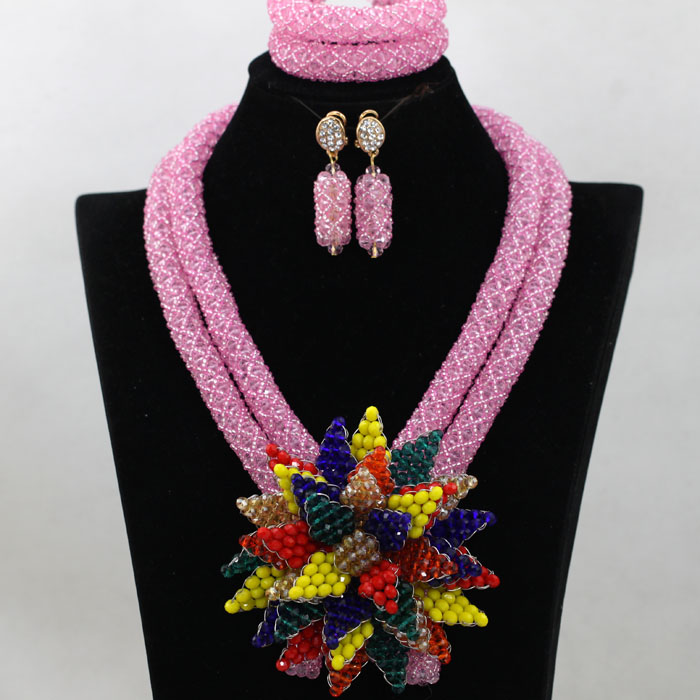 Hot Pink African Women Beads Jewelry Set Baby Pink Indian Crystal Bridal Flower Pendant Party Necklace Set Free Shipping QW444Hot Pink African Women Beads Jewelry Set Baby Pink Indian Crystal Bridal Flower Pendant Party Necklace Set Free Shipping QW444