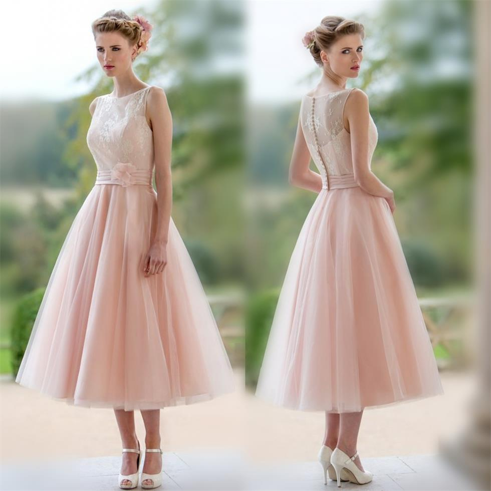 2016 fall new nude pink lace tulle bridesmaid dresses a line tea 2016 fall new nude pink lace tulle bridesmaid dresses a line tea length cheap wedding party dresses with sashes in bridesmaid dresses from weddings events ombrellifo Images