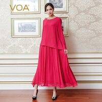 VOA Plus Size Luźne Jedwabne Szyfonu Red Fałszywe Dwa Set Beach kobiety Sukienka Z Długim Rękawem Stałe Casual Maxi Plisowana Sukienka Wiosna A7208