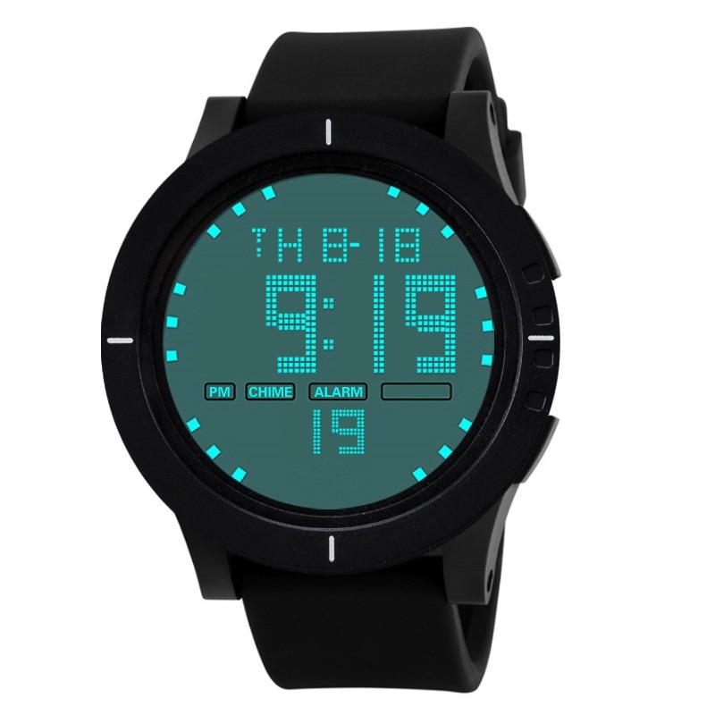 LED Full Screen Black Silicone Strap Luminous Digital Week Display Men Outdoor Sports Electronic Watch 30M Waterproof Clock E80