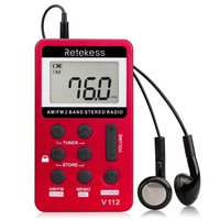 5pcs Retekess V112 Pocket FM/AM Digital Tuning Radio Mini pocket Receiver Rechargeable Battery&Earphone Micro USB FM Radio