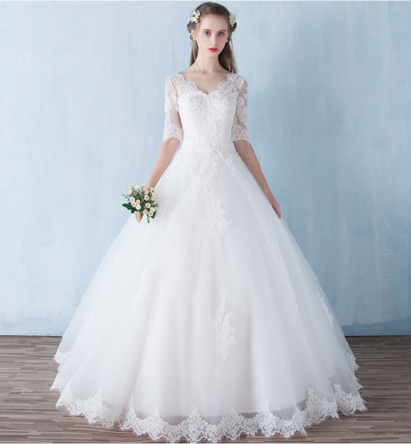 v neck 12 long sleeve ball gown wedding dresses 2017 sexy lace