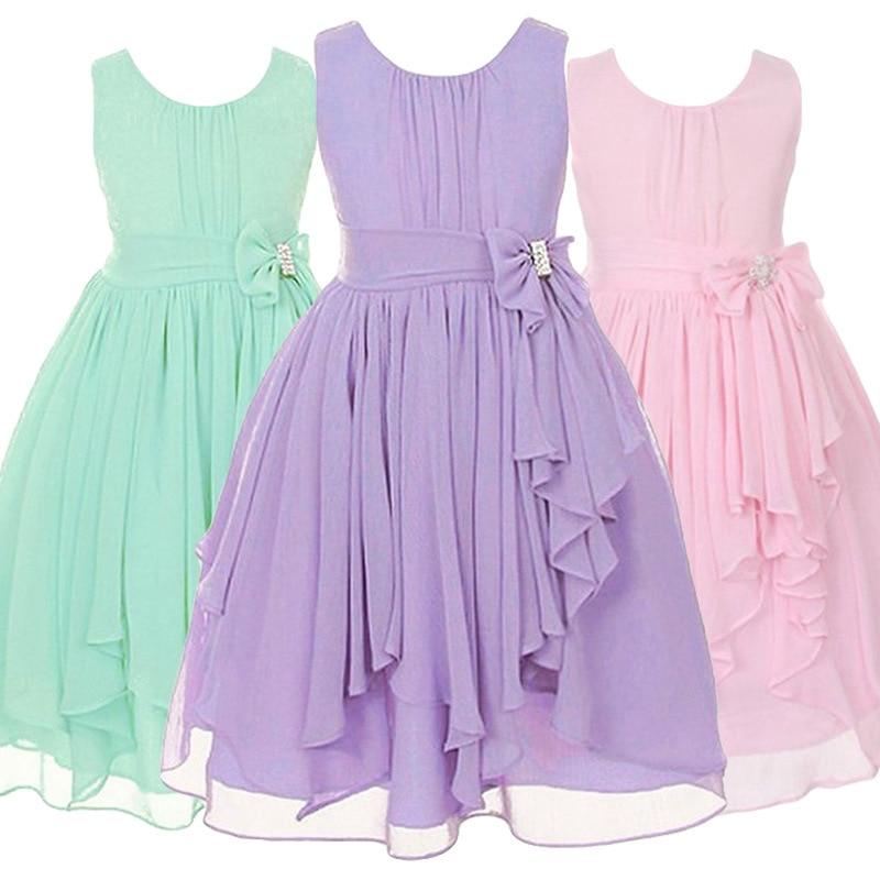 da6ef711a4 Big Girls Chiffon Dress 2018 Summer Sleeveless Irregular Elegant Princess  Party Dresses 5 6 7 8 ...