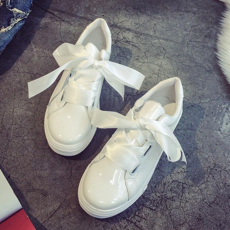 2017 NOUVELLES Femmes De Mode Casual Chaussures Baskets Grand Arc Femmes Appartements Chaussures Respirant Zapatillas Casual Chaussures En Cuir Plate-Forme Chaussures