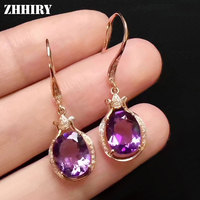 ZHHIRY Real Natural Amethyst Genstone 925 Sterling Silver Drop Earrings For Women Eardrop Dangler Fine Jewelry