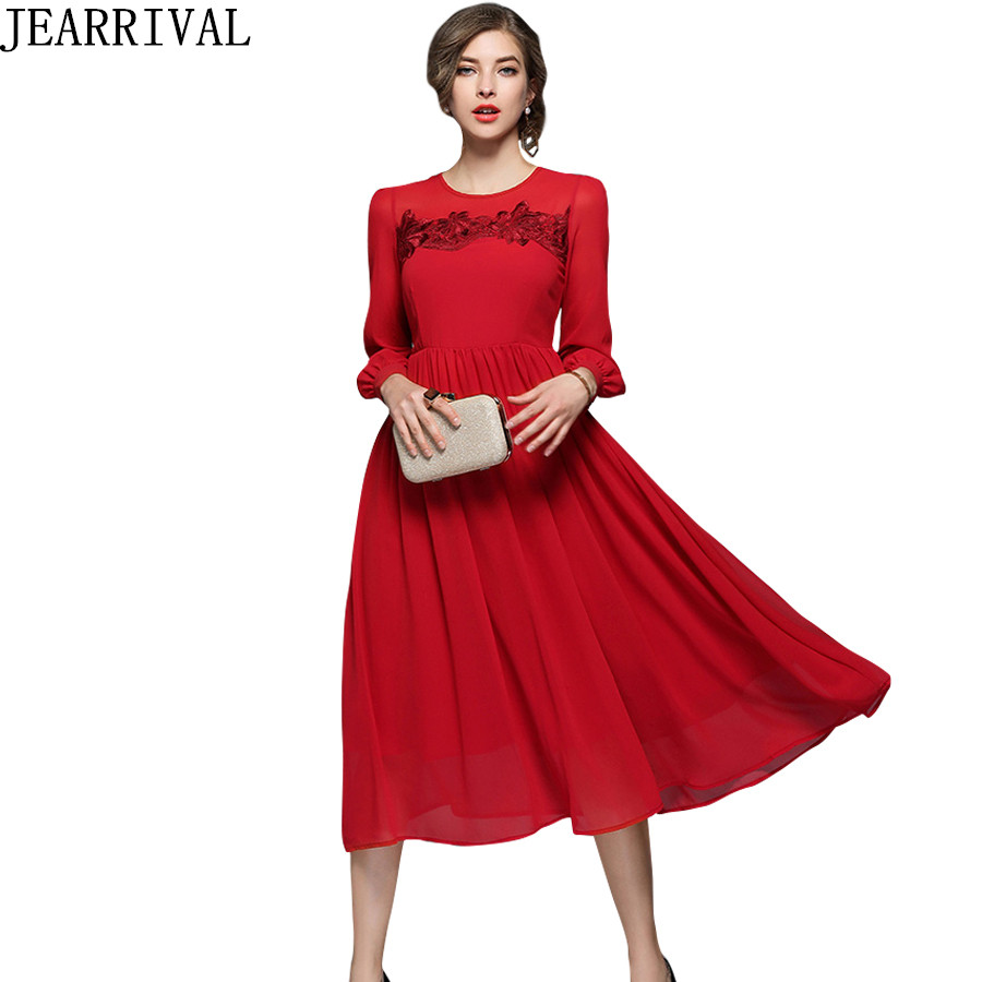 2018 New Spring Fashion Red Chiffon Dress Women\'s Full Sleeve Flower ...