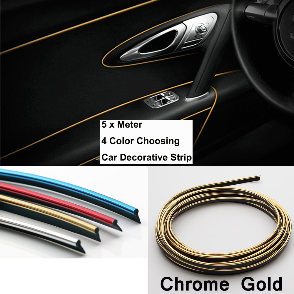 gold strip chrome 5 meter car pvc decorative tape car chrome strips car motive center stack side. Black Bedroom Furniture Sets. Home Design Ideas