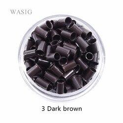 1000 Uds 3,4*3,0*6mm 3,5mm flare Euro Lock tubos de cobre Micro anillos conexiones cuentas para stick I tip extensiones de cabello 3 # marrón oscuro