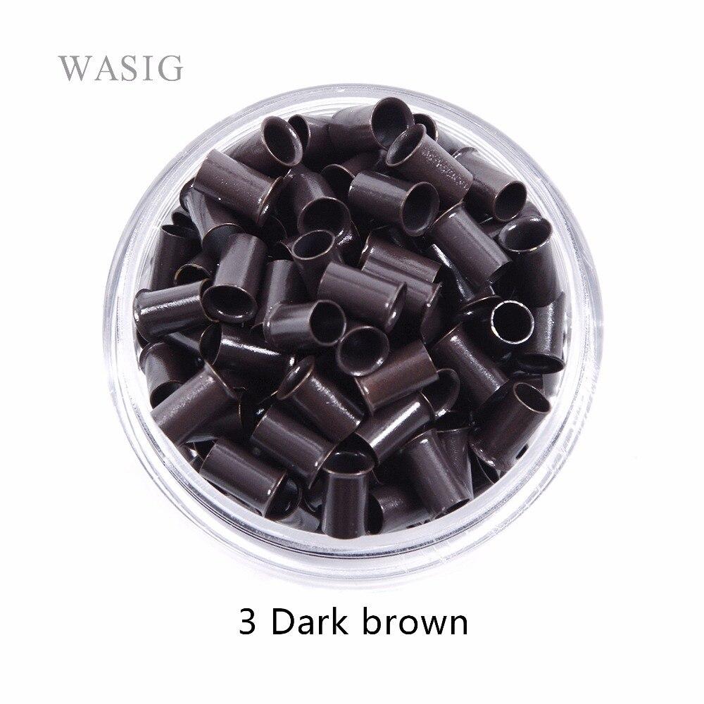 1000 pcs 3.4*3.0*6mm 3.5mm flare Euro Serrure de cuivre tubes Micro Anneaux liens perles pour bâton JE lève les extensions de cheveux 3 # brun foncé