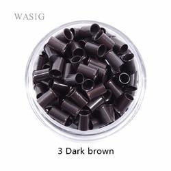 1000 piezas 3,4*3,0*6mm 3,5mm flare Euro Lock tubos de cobre Micro anillos enlaces cuentas para palo I tip extensiones de cabello 3 # marrón oscuro