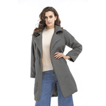 Cardigan Female Jackets For Women Autumn Winter Fashion Solid Color Coats and Turn-down Collar Clothing