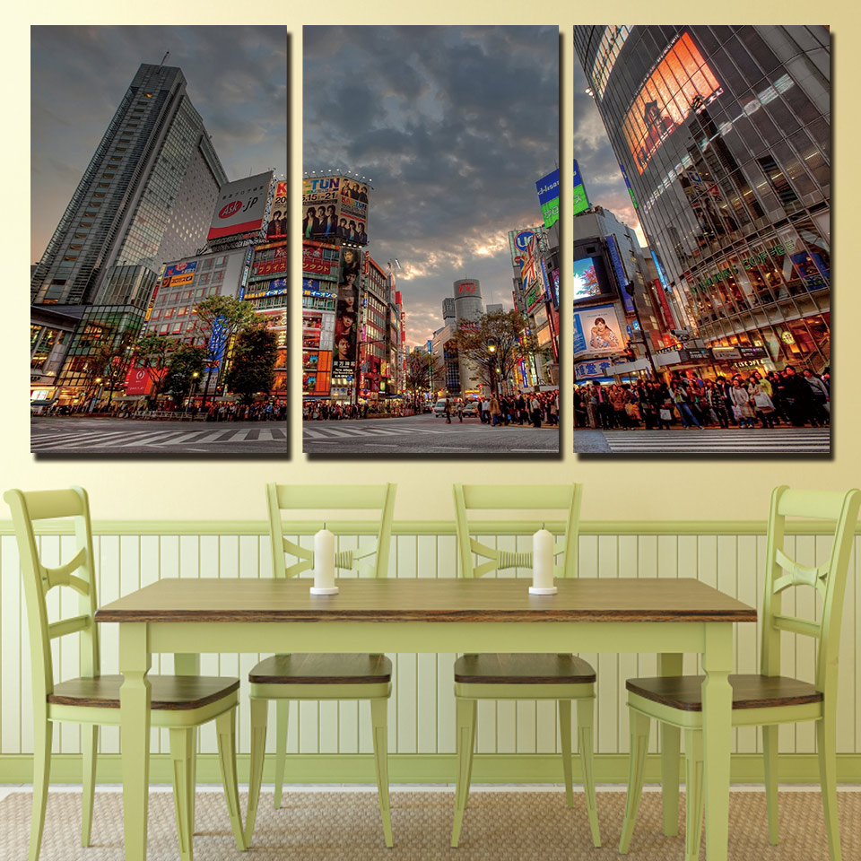 Sale Modern 3 Panels Canvas Art Busy Tokyo Street Home Decoration Unframed Wall Painting Prints Pictures For Living Room