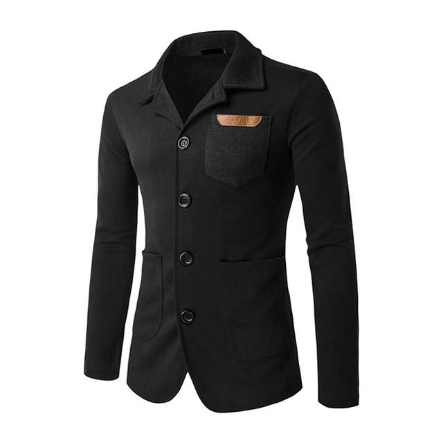 2017 Nueva Lista de Corea Hombres de La Moda Blazer Slim fit Diseño Mens Casual Suit Solo Pecho Traje chaqueta de bolsillo masculino Negro marino