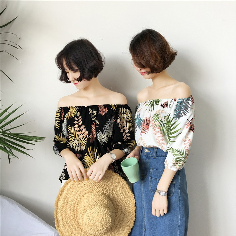2018 2018 Women Blouse Sexy Off Shoulder Slash Neck Top Half Sleeve Blouse Print Floral Shirts Sweet Bohemian Blusa Feminina W9