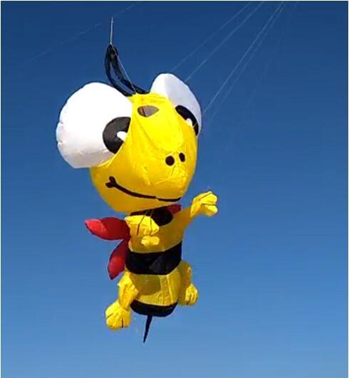 Livraison gratuite haute qualité abeille doux cerf-volant pendentif ripstop nylon tissu extérieur jouets volants animal cerf-volant chaussette à vent parachute 3d cerf-volant