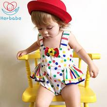 Herbabe 2019 New Baby Girl Clothing Cotton Floral Newborn Infant Sleeveless Romper Clothes Bebe Jumpsuit Summer Outfit