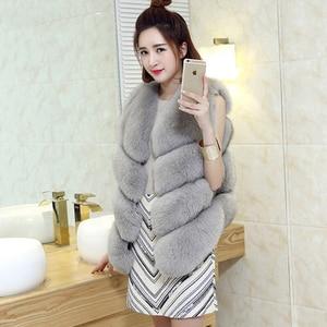 Image 4 - ZADORIN Gilet en fausse Fourrure de renard pour femmes, luxe, grande taille, manteau en fausse Fourrure, court, automne hiver
