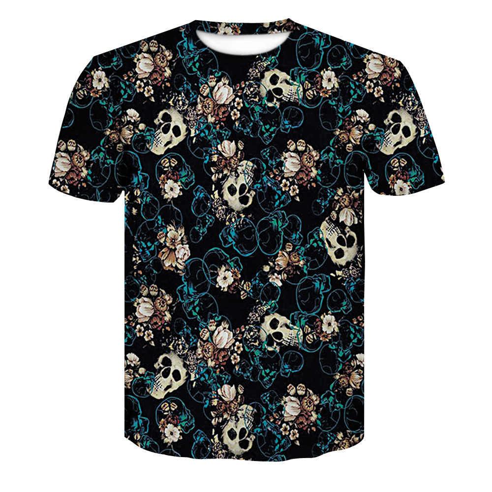 2018 新メンズ夏の頭蓋骨ポーカープリント男性半袖 Tシャツ 3D Tシャツカジュアル通気性 Tシャツプラスサイズ tシャツ