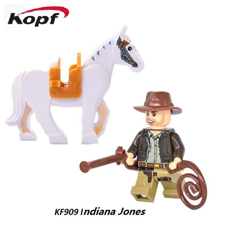 Super Heroes Avengers Indiana Jones Rides on a Horse action Building Blocks assemble best gifts Toys For Children KF909 kf949 super heroes star wars mr kentucky macdonald luke skywalker wolverine indiana jones collection building blocks gift toys