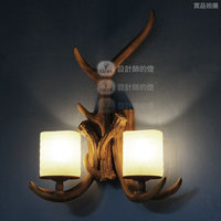 lamp light antlers American country retro resin lamp bedside lamp wall lamp designer's angle of Changlu balcony