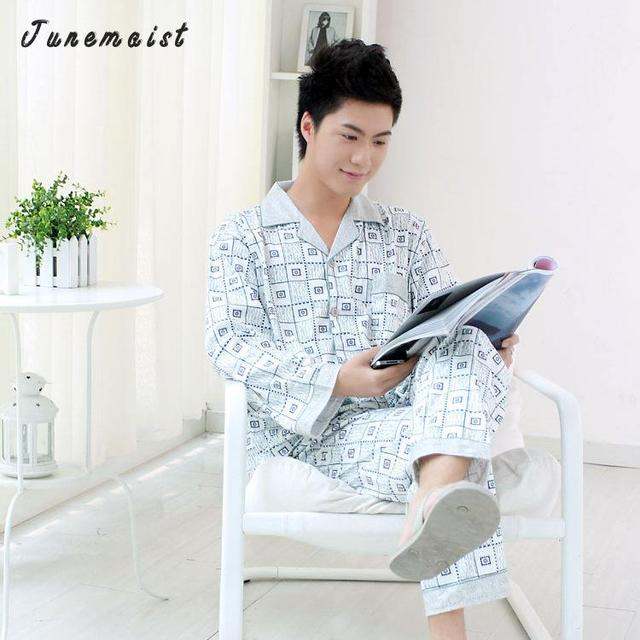 2016 Primavera Nuevos Hombres de Manga larga Homewear Pijama de Satén de Seda de Seda Ropa de Dormir Masculina