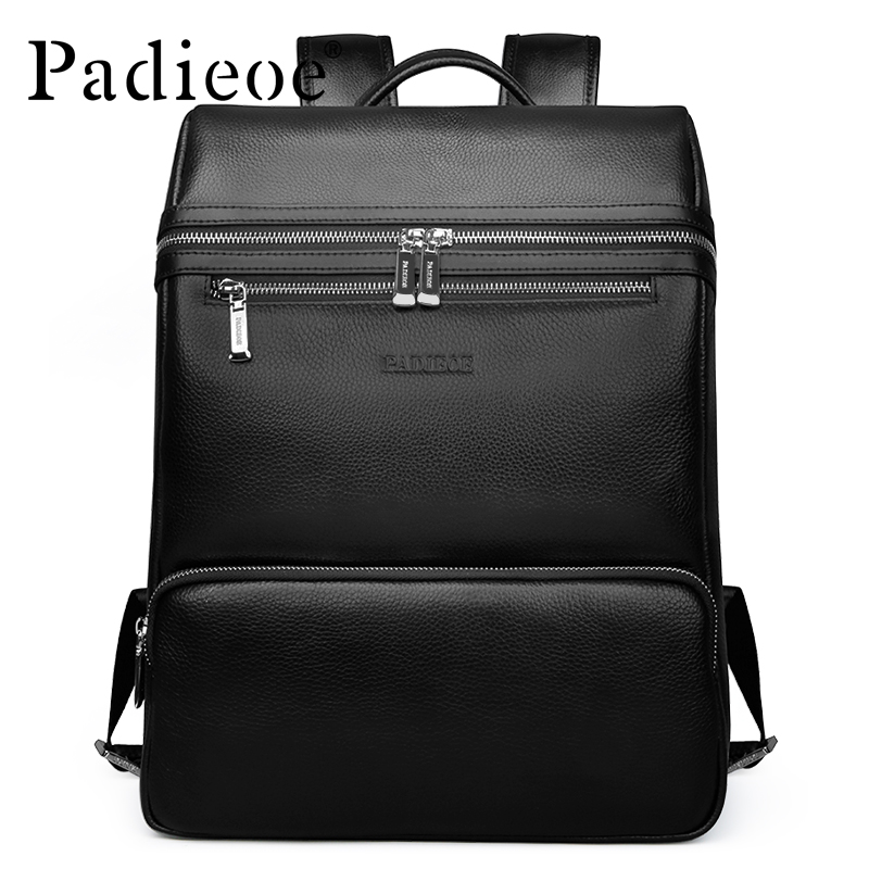 Famous Brand Padieoe Men Backpack Waterproof Genuine Leather Casual Travel Beach Bag Laptop Backpack Teenagers School Bags male bag vintage cow leather school bags for teenagers travel laptop bag casual shoulder bags men backpacksreal leather backpack
