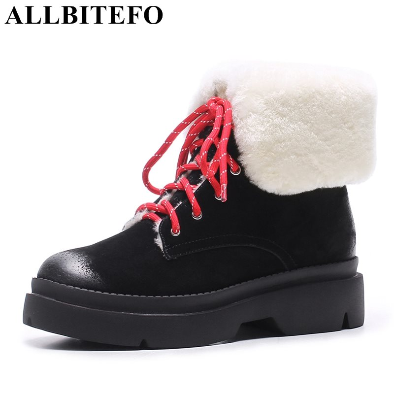 ALLBITEFO new arrive Nubuck leather+Lambswool warm snow boots fashion casual thick heel platform winter boots women boots skullies beanies the new russian leather thick warm casual fashion female grass hat 93022