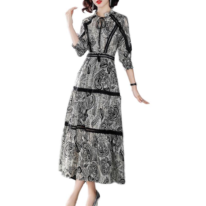 2019 nouveau printemps été Vintage mode piste robe femmes 3/4 manches haute qualité imprimé soie élégante longue robe vestidos