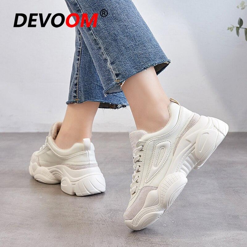 Beige Blanc Femmes Printemps D'hiver blanc Mode 2019 Plates Fourrure Confortable Plateforme Sneakers Chaussures De Nouveau Mocassins 5w7q66