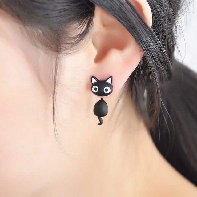 1 PCS Cute Kitten Cat Stud Earrings Cat Black white Ear Jewelry Earrings For Women Fashion Statement Jewelry  Freeshipping