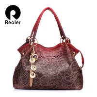 REALER Brand Women Bag Hollow Out Ombre Handbag Floral Print Shoulder Bags Ladies Pu Leather Tote