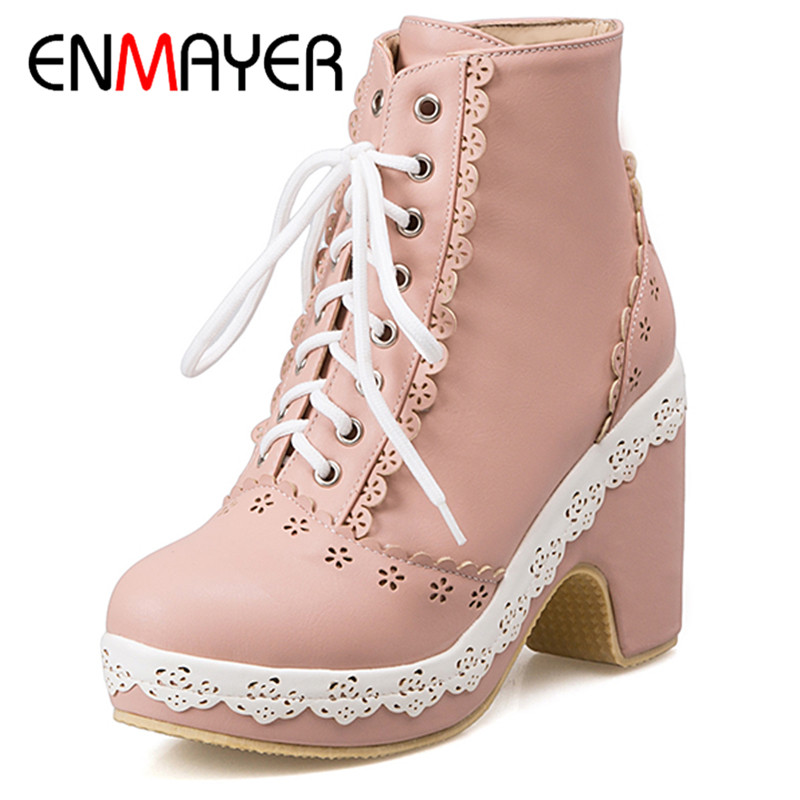 ENMAYER Winter Women Sweet Fashion Boots Mixed Colors Round Toe Lace Up Square Heel Platform Large Size 34 39 Beige Blue Pink