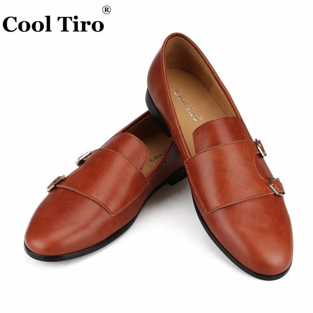 Cool Tiro Double-Monk Men Loafers Moccasins Smoking Slippers Wedding Dress Shoes Formal Business Flat Casual Shoes Leather Brown