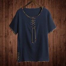5XL リネンシャツ固体の基本的な半袖 Tシャツファッション男性 Tシャツプラスサイズ