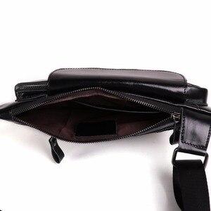 Image 2 - Joyir Mannen Driehoek Koe Lederen Schoudertas Reizen Lederen Borst Bag Strap Sling Casual Borst Pakken Crossbody Tas Voor mannen