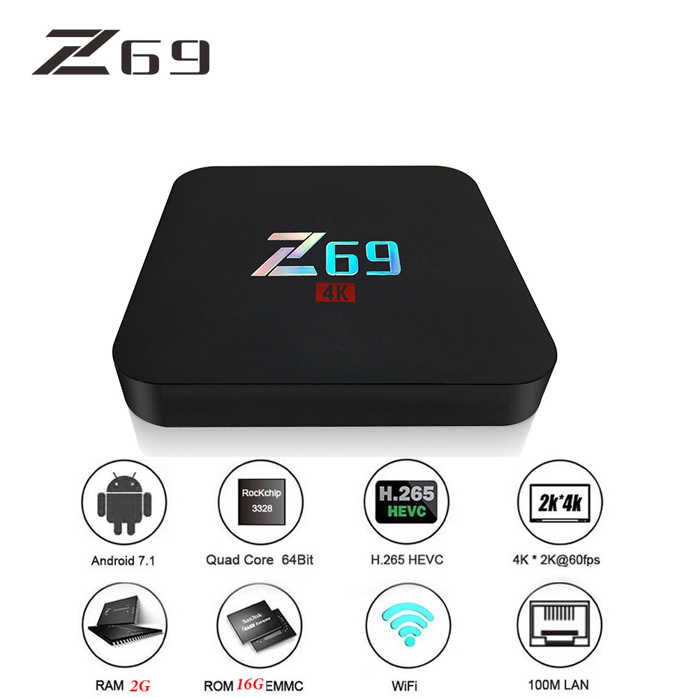 Z69 TV Box Smart Android 7.1 TV Box MINI 2G DDRS 16G 4K HD WIFI Sipport Set-top Box IPTV Midia Stream Player HDMI 2.0 pvt 898 5g 2 4g car wifi display dongle receiver airplay mirroring miracast dlna airsharing full hd 1080p hdmi tv sticks 3251