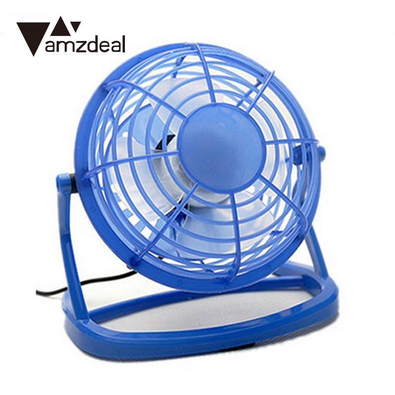 amzdeal DC 5V Small Desk USB Cooling Fan 4 Blades Cooler Cooling Fan USB Mini Fans Operation Mute Silent PC Laptop
