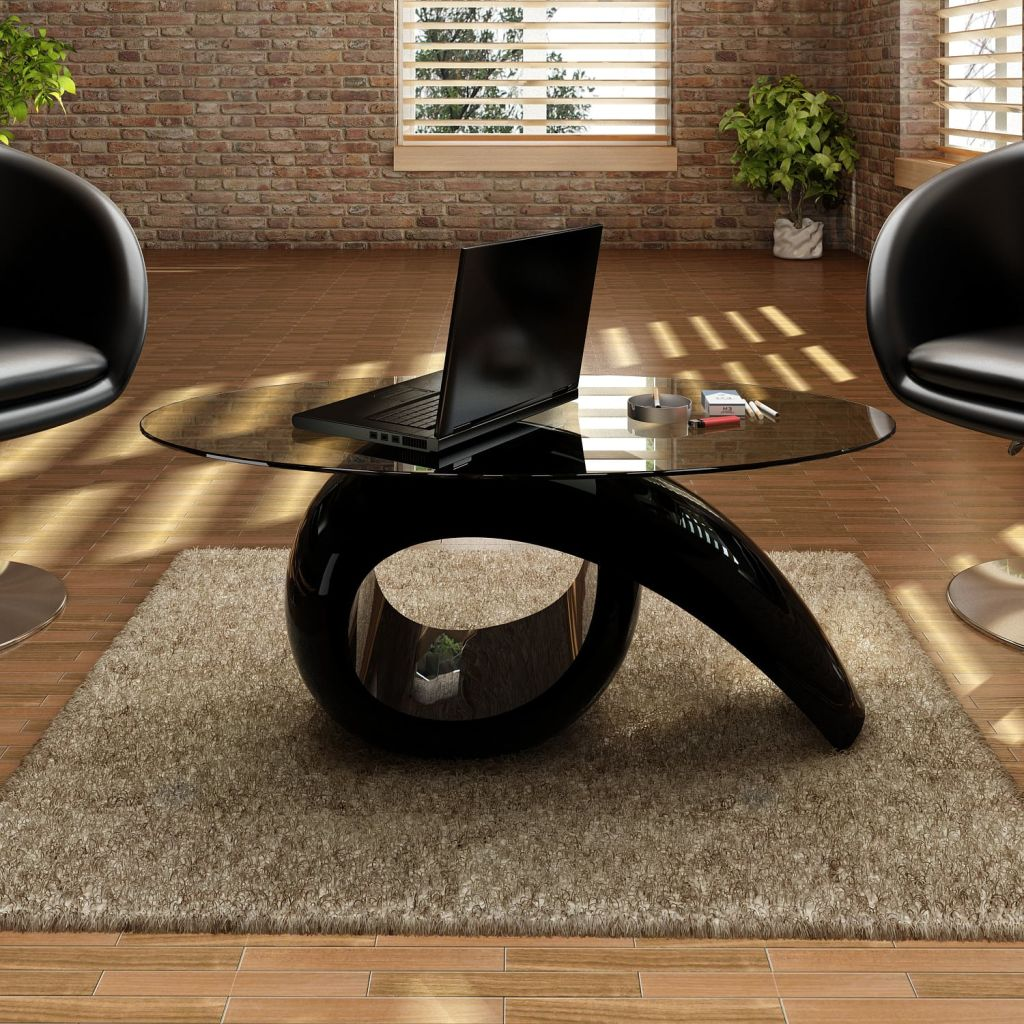 vidaXL Coffee Side Table Nightstand High Gloss Base Glass Tabletop White//Black