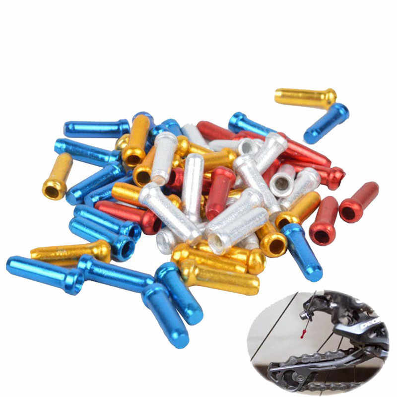 10 Pcs Cycling Brake Gear Cable Ferrule Cap Cable Ends Bicycle Inner Wire Alloy Crimps Nipple Cover Bicycle Accessories 4 Colors